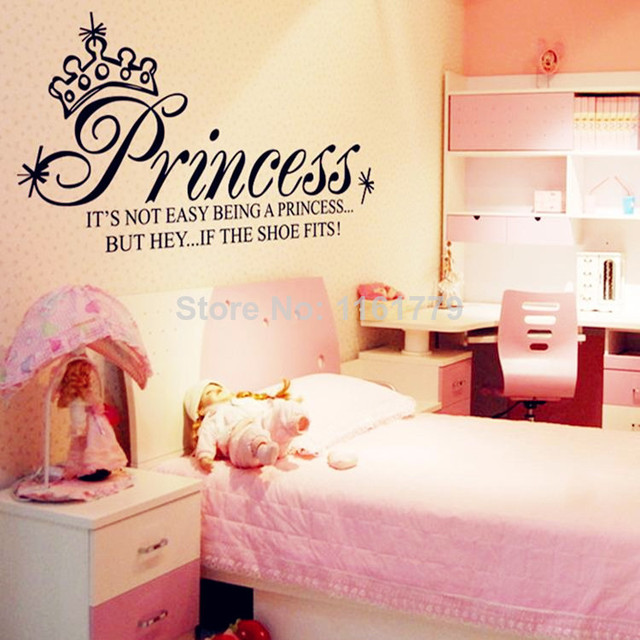 130*65cm princess art quote wall decals girls bedroom decoration