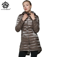 Hydiber 2017 Nieuwe Collectie Mode Vrouwen Afslanken Winter Lange Parka dames Donkergroen Hooded Zwart Lange Mouwen Jassen Plus Size XL