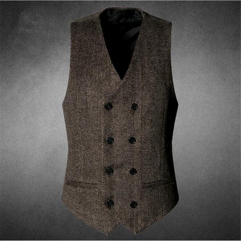 Moda Yüksek Kalite Yeni Erkekler Yelek Erkek Casual Suit V Yaka Slim - Erkek Giyim - Fotoğraf 6