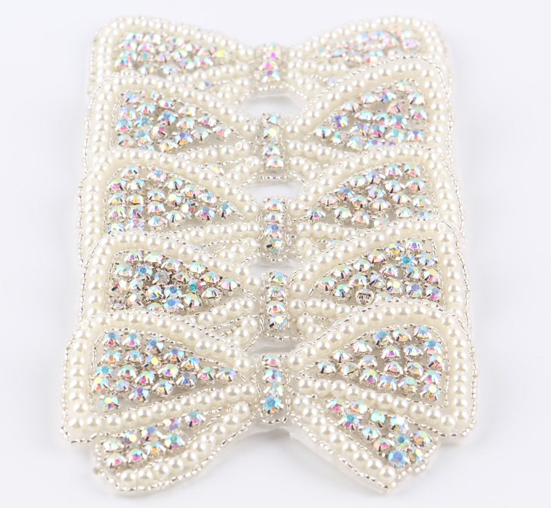(60pcs lot)Factory Price Bows Shape Crystal Pearl AB Rhinestone Appliques  Patch Hot Fix Beaded Dress Belt Sash Applique Patch-in Rhinestones from  Home ... 8bad14440d01