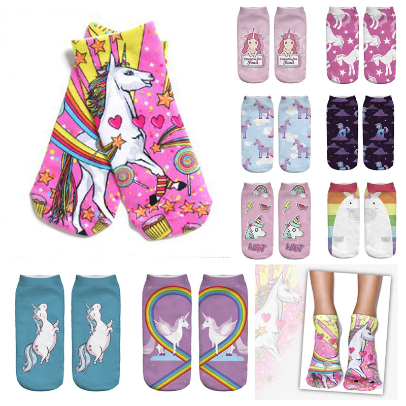 Hot sale Womens Unicorn Cute Cartoon Girls Cotton Ankle Socks Low Cut Short Socks