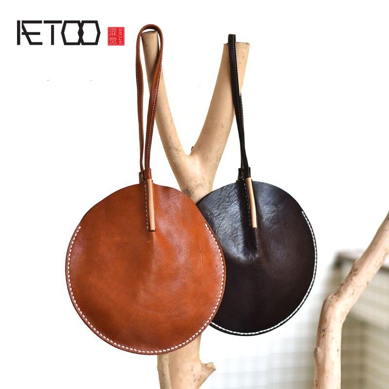 Aetoo Original Design Gefühl Leder Runde Hand Tasche Kleine Tasche Top Schicht Leder Geldbörse Chinesischen Nationalen Stil Persönlichkeit Einfach Zu Schmieren