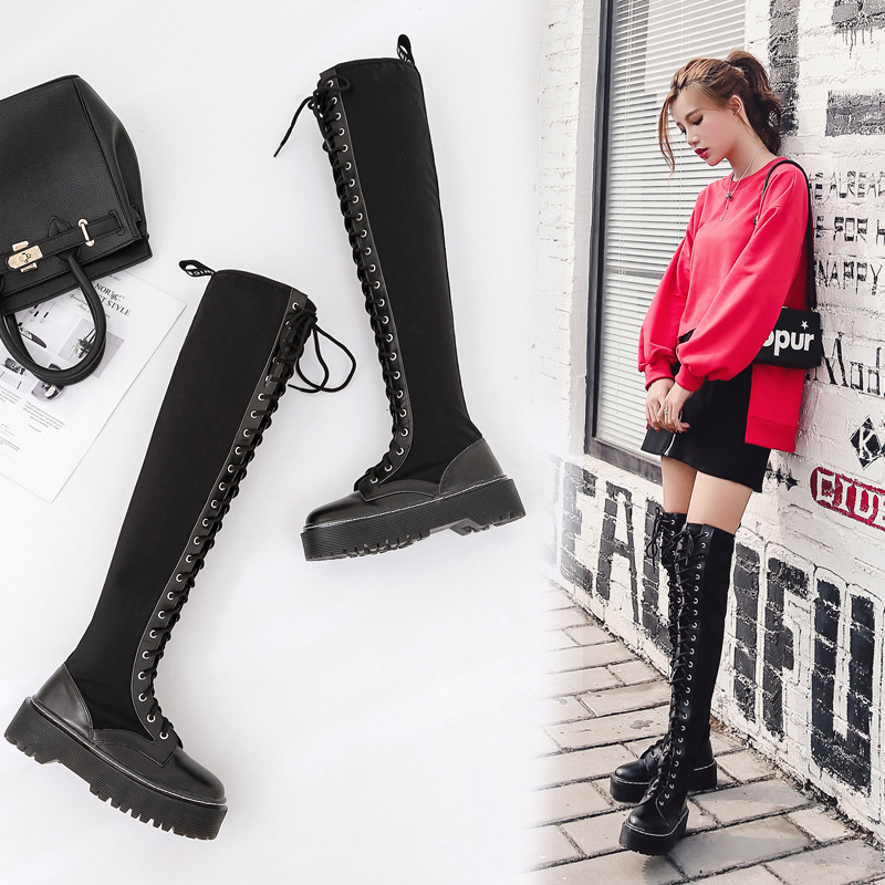 Europe and the United States punk motorcycle Martin boots female autumn thick tie the end of high lace boots stretch knee boots