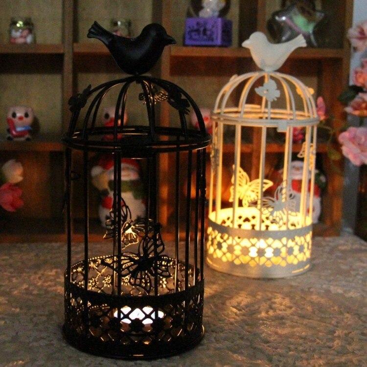 Cage chandelier noir blanc fer nuit lumière artisanat cadeau anniversaire mariage étudiants créatif maison envoyer bougie lampes Z7136