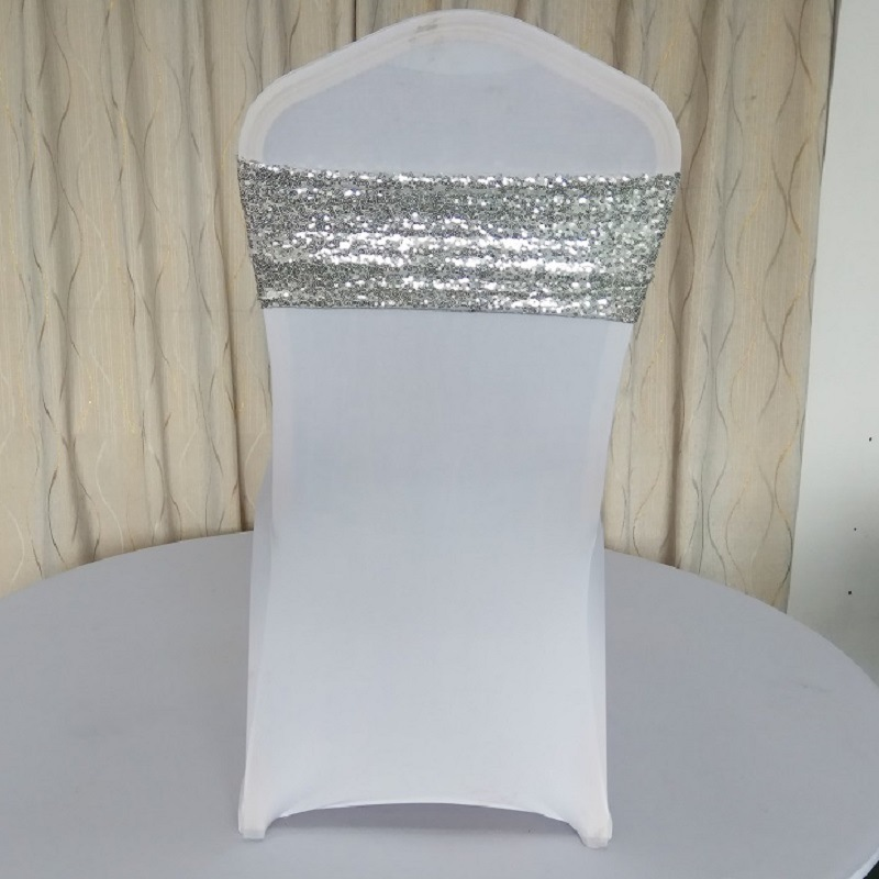Marious 100pcs Mesh Sequin Chair Sash Cover Wedding Party
