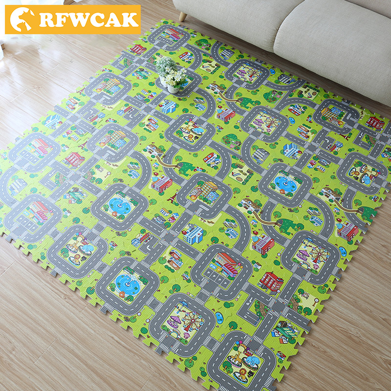RFWCAK Toys for Kids Rugs Puzzle Traffic Route Mats Baby Creeping Mats Children Split Anti - Skid Mats Environmental Foam Mats