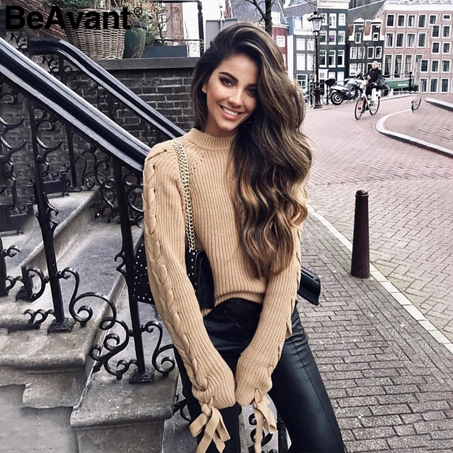 BeAvant Lace up knitted sweater 1