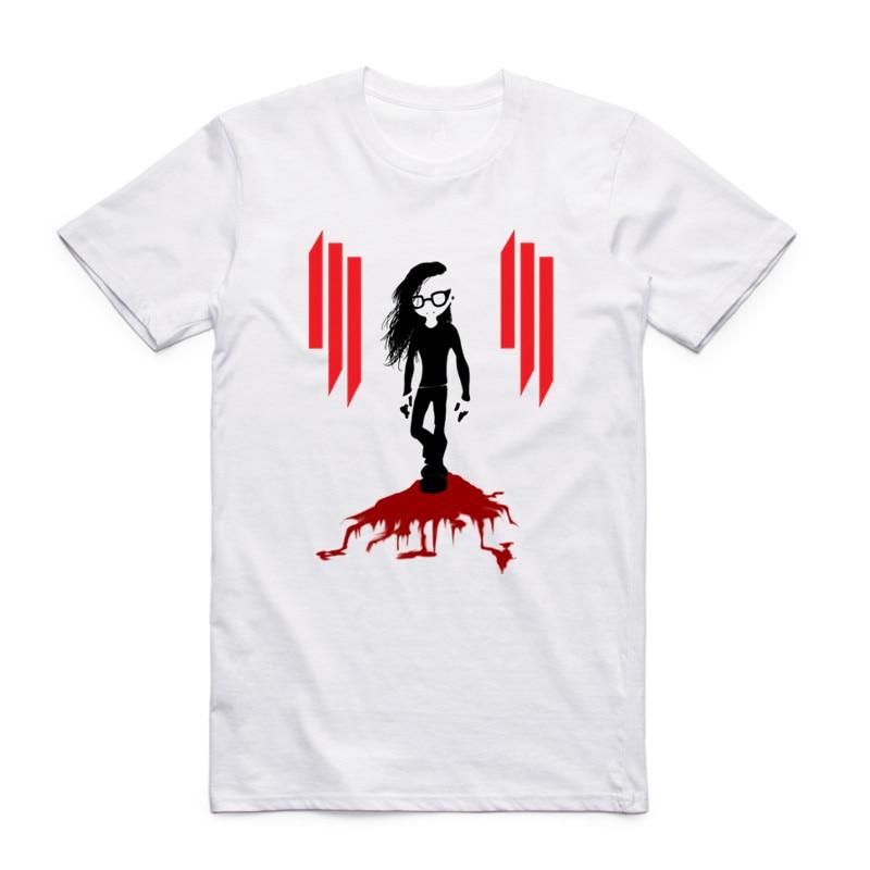 S-XXXL Mens Print DJ Skrillex OWSLA T-shirt Summer White geek Short sleeve O-Neck Swag Camiseta Rock Band Tshirt