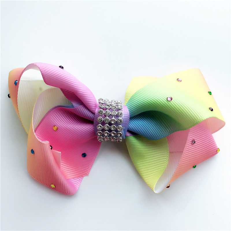 2017 Newest 12cm Big bowknot hairpins with diamond girl barrette large colorful bow hair clip jojo Hair Accessories 2017 newest big bowknot hairpins 8 inch girl barrette large colorful bow hair clip jojo hair accessories