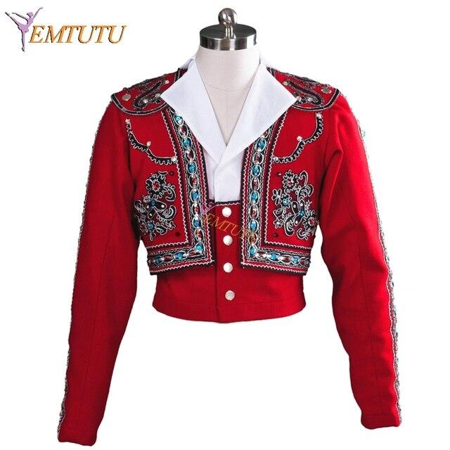 Người đàn ông của Tây Ban Nha Phong Cách Chuyên Nghiệp múa ba lê áo Đỏ Đen 2 cái chàng trai ba lê áo khoác Tùy Chỉnh Làm Nam Ba Lê Hàng Đầu Giai Đoạn trang phục
