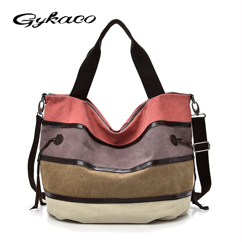 Gykaeo Women Leisure Canvas Handbag Female Casual Patchwork Messenger Shoulder Bag Ladies Large Capacity Travel Crossbody Bags