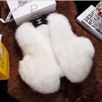 Children's Real Fox Fur Vest Girls Autumn Winter Warm Short Fox Fur ClothesVest Kids Solid V Neck full Pelt thick Vests Coat V#4