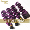 1B/Purple Ombre Hair Weaves With 4x4 Lace Closure Ombre Brazilian Hair Extension 3 Bundles Purple Hair Weaves With Lace Closure