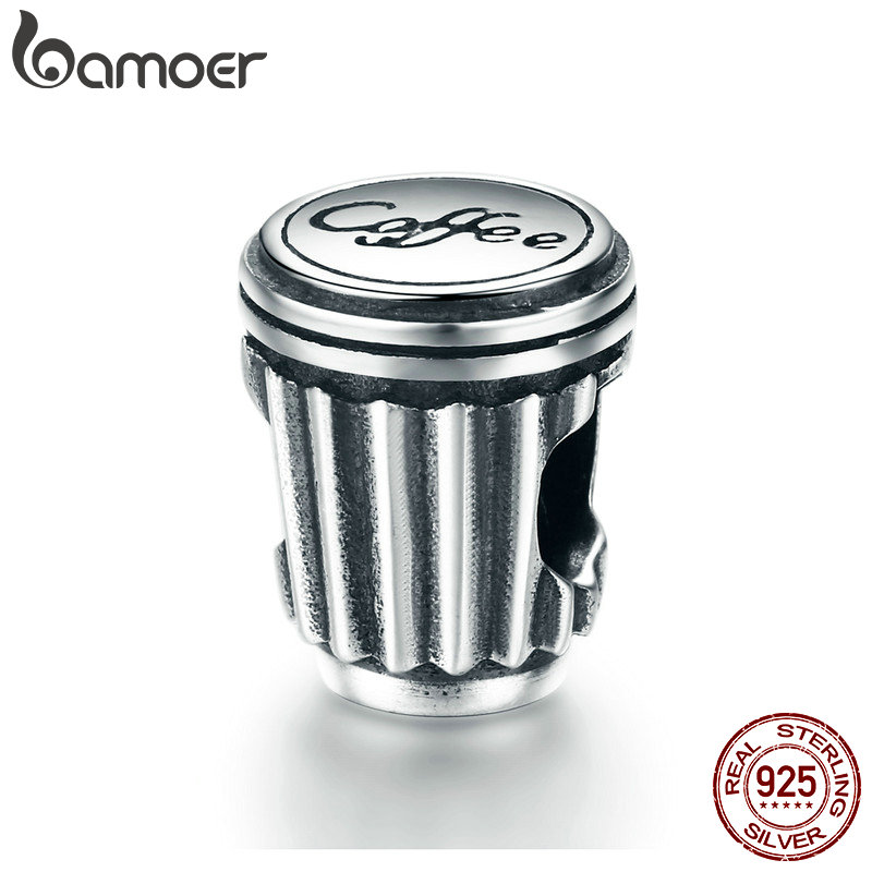 BAMOER Valentine Day Gift 100% 925 Sterling Silver Coffee Love Coffee Cup Charm Beads Fi ...