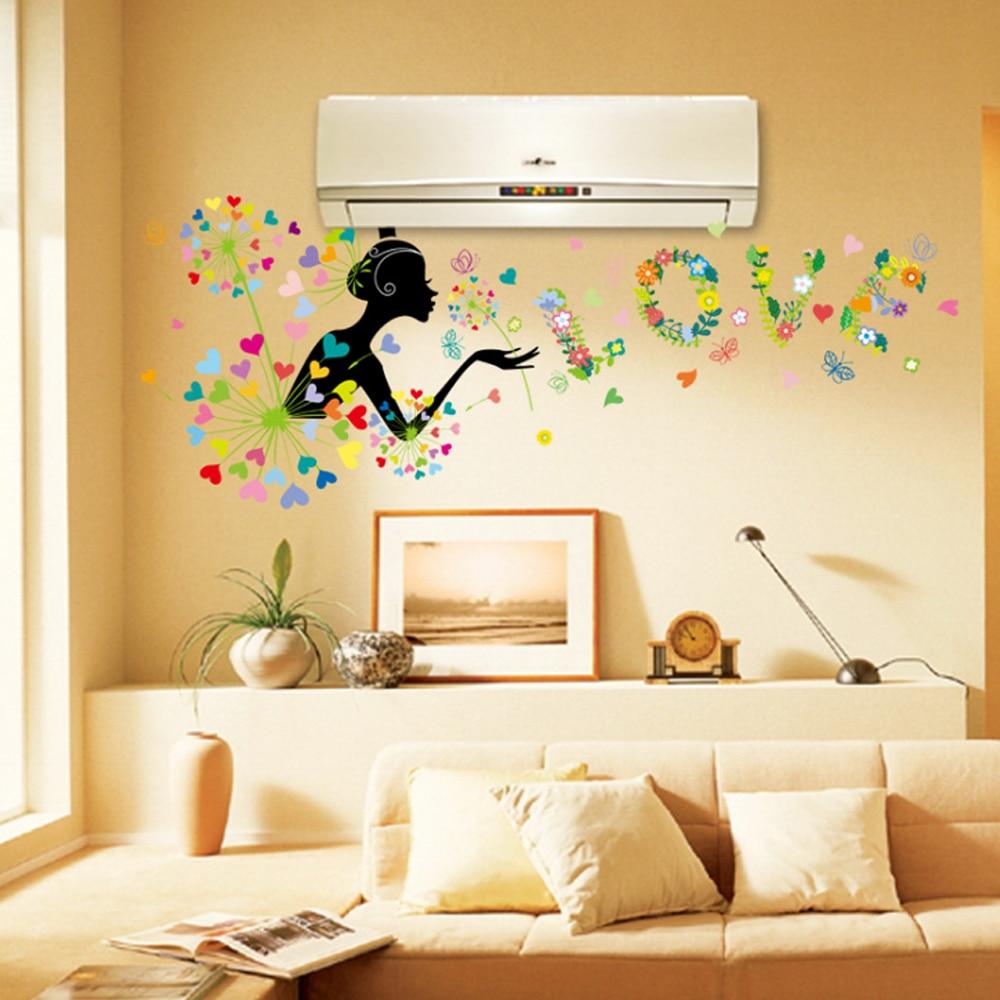 Dandelion Girl Flowers Heart Shape Butterflies Love Wall Decal Home ...