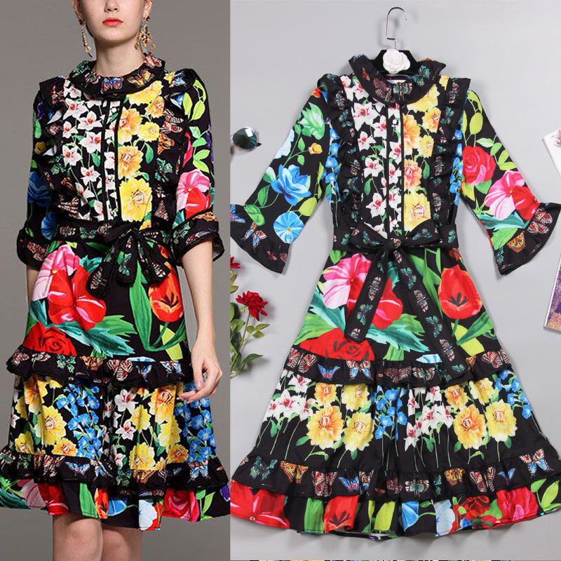 New  summer  autumn  products fashion printing color publicity cake modeling tie leisure holiday dress girl.