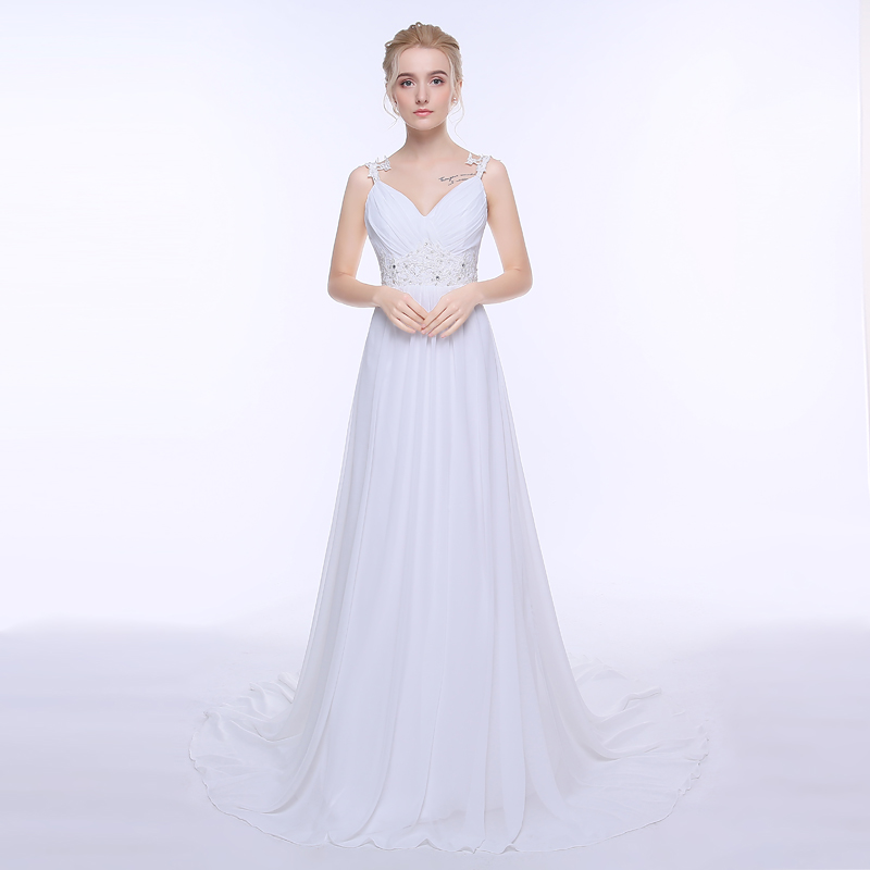Adln sexy spaghetti straps chiffon beach wedding dresses for Simple wedding dresses under 100
