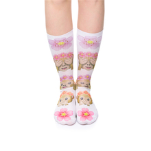 15 Colors Harajuku Long Socks Women 3D Print Funny Socks Emoji Monkey Flowers Sokken Fashion Calcetines