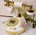 Retro europeo TQJ cerámica teléfonos antiguos teléfono fijo de la sala de estar fijo de identificación de llamadas