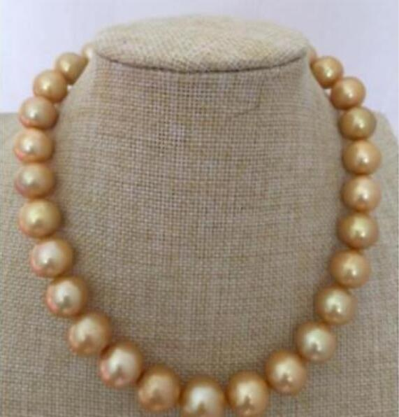 GORGEOUS-HUGE-11-12 MM-SOUTH-ROUND-PEARL-NECKLACE-35INCH