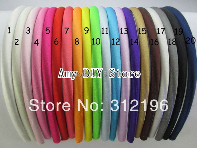 MyAmy 500 pcs/lot children colored satin covered resin hairbands plastic headband with cloth covered (20 Colors)