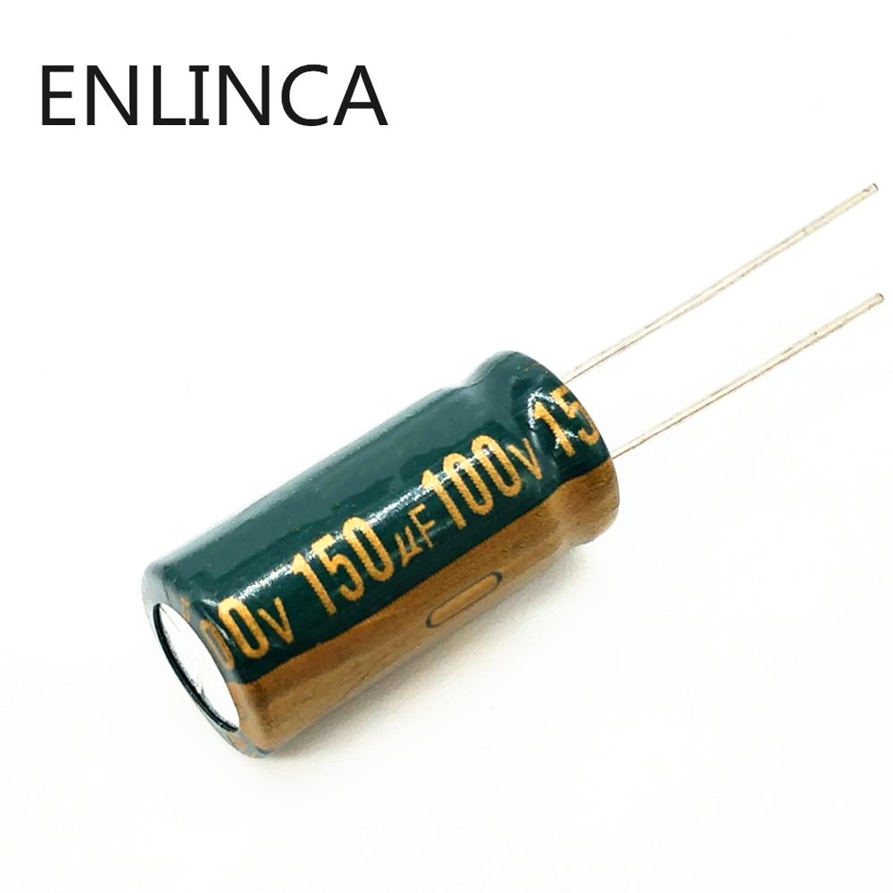 22pcs/lot BC14 high frequency low impedance <font><b>100v</b></font> <font><b>150UF</b></font> aluminum electrolytic capacitor size 10*20 <font><b>150UF</b></font> 20% image