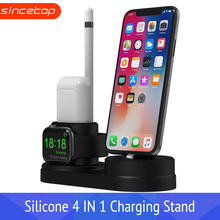 4 in 1 Charging Dock Holder For Iphone X 8 7 6 Silicone charging stand Station Apple watch Airpods