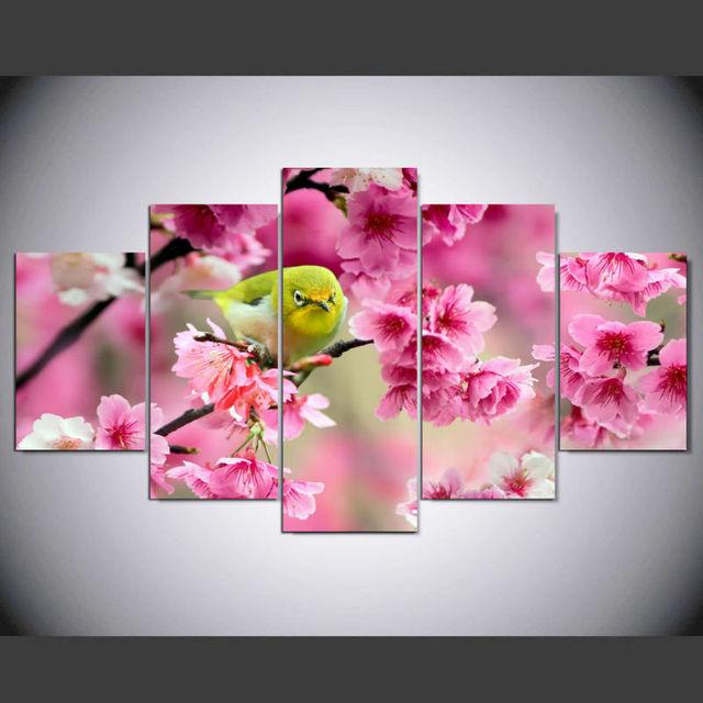 Dafenjingmo Arts 5 Panel Moderne Fleur De Cerisier Japonais Hd Art