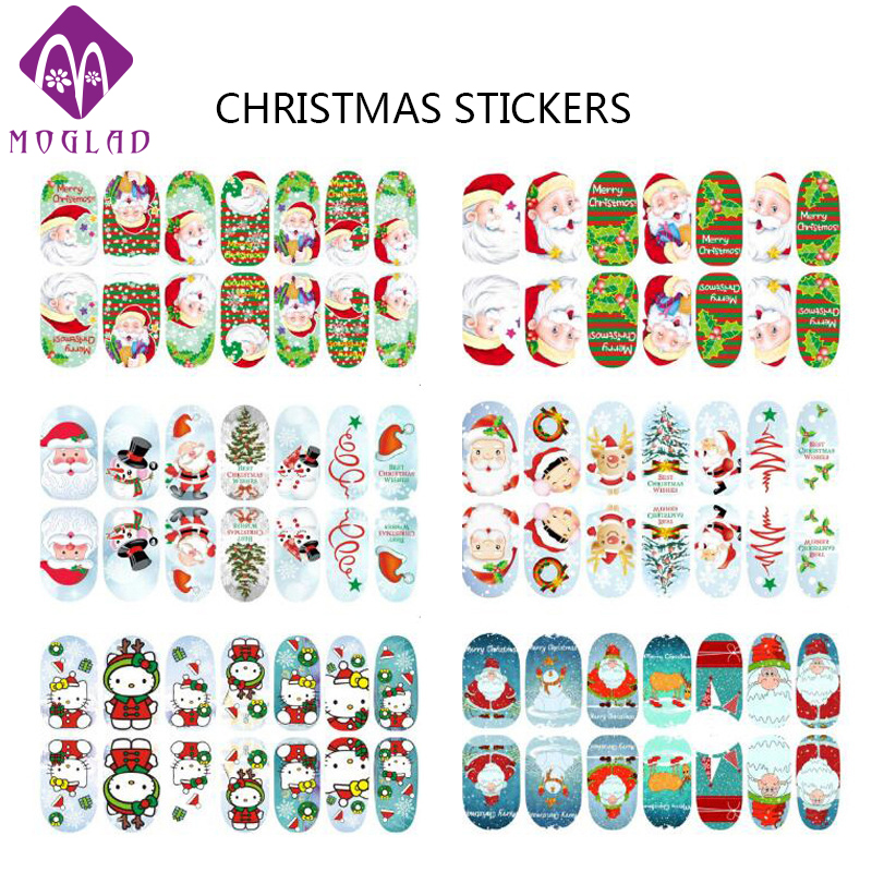 12 Designs optional Christmas full cover nail stickers,luminous adhesive nail art tips wrap,glow in the dark nail patch sticker