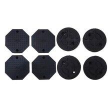 8PCS Heavy Duty Rubber Octagon+Round Car Lift Arm Pad Equipment Kit Black Accessories
