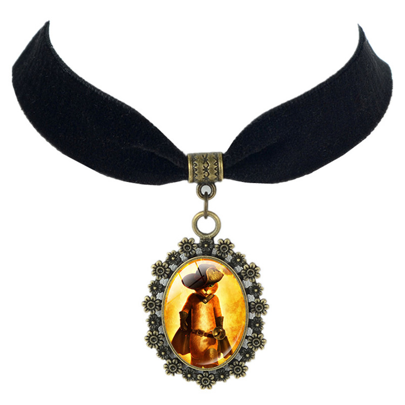 New Arrival Top Selling Lovely Puss In Boots victorian style Black Velvet Choker Doll Cartoon Animation