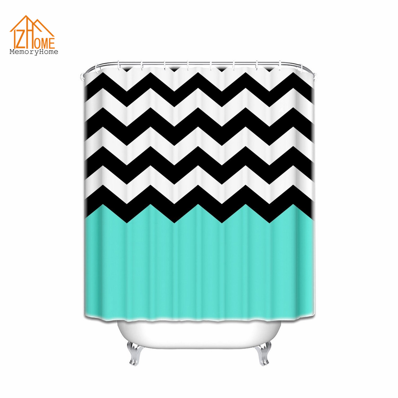 € 14.98 25% de réduction|Mémoire maison Chevron motif rideaux de bain  Turquoise noir blanc rayé salle de bain décor imperméable salle de bain  tissu ...