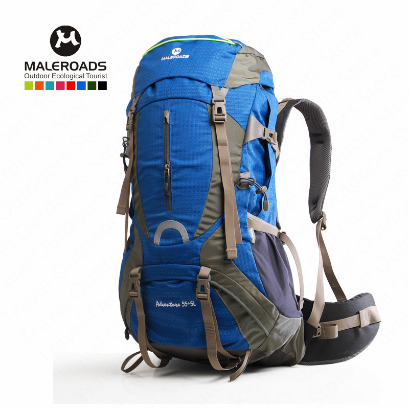 <font><b>Maleroads</b></font> <font><b>60L</b></font> Climbing Bag Outdoor Sports Backpack Waterproof Nylon Rucksack Bag With Rain Cover Outdoor Hiking Camping Bike image