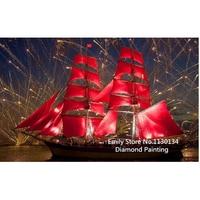 DIY Diamond Painting 3D Diamond Embroidery DIY Kit Rhinestone Painting Art Handwork NEW Red Sailboat DP289