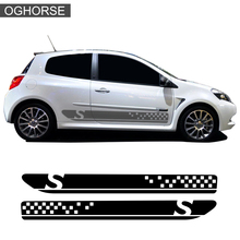 2 Pieces of Car Styling Door Side Stripe Skirt Sticker Racing Sport Graphics Decal For Renault Clio 3 RS MK3 Accessories