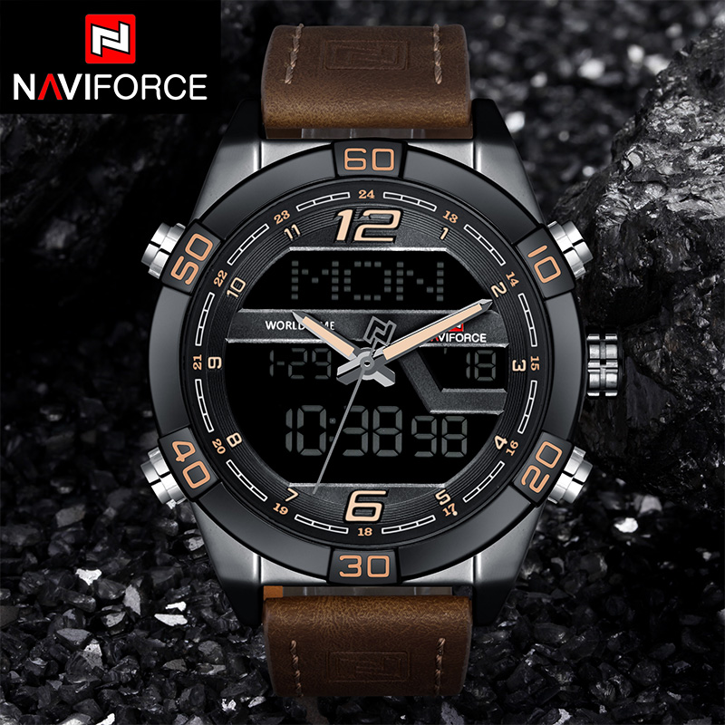 NAVIFORCE Brand Men Sport Watches Fashion Casual Waterproof Quartz Wristwatches Analog LED Dual Display 12/24 Hour Date Clock naviforce men silicone band wristwatches waterproof quartz analog display date day week wrist watch fashion casual watches 9107