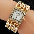 Новый Роскошный женская Наручные Часы Кварцевые Часы Аналоговые Горный Хрусталь Браслет Часы Из Нержавеющей Стали Золото Серебро