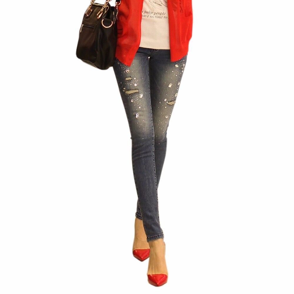 2017 Brand Women s Denim Jeans Pants Slim Ripped Sexy Boyfriend High waist Jeans with Rhinestones