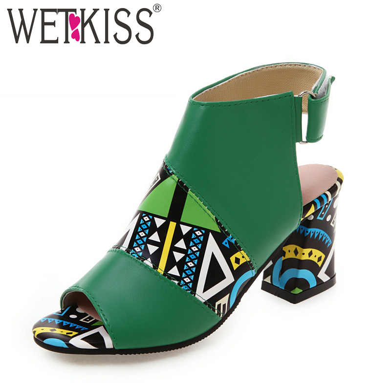WETKISS Yaz Çizmeler Kadın Egzotik Yüksek Topuklu Botları Baskı Slingback Ayak Bileği Patik Kadın Moda parti ayakkabıları Bayanlar 2019 Mor