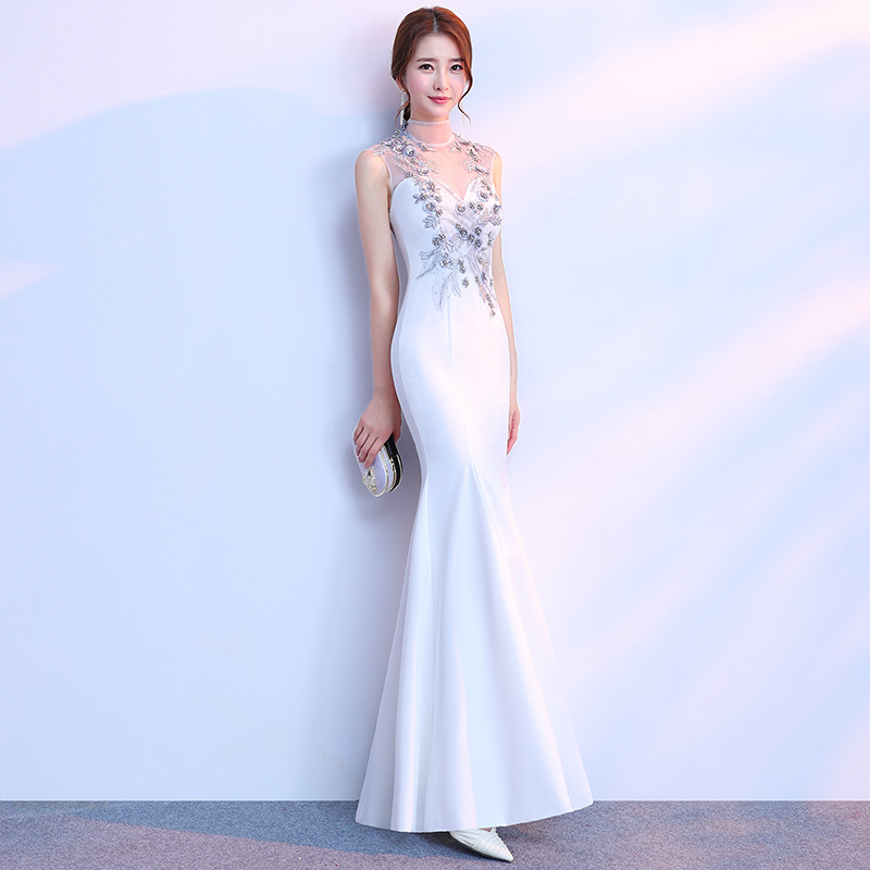White Stage Show Qipao Sequins Mermaid Cheongsam Dress Vestidos Chinos Oriental Wedding Gowns Party Dresses Plus Size 3XL