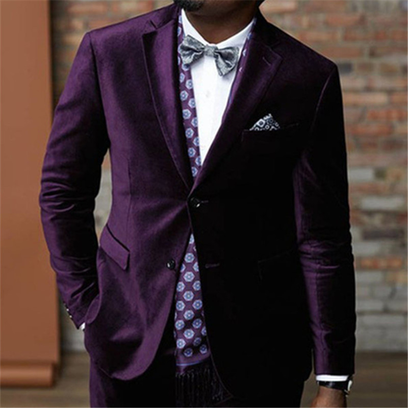 Top Selling Purple Velvet Terno Prom Men Suit Wedding Custome