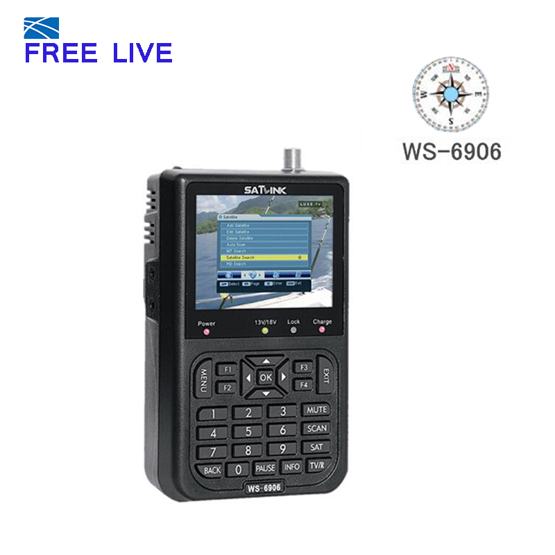 Smart  Satlink WS-6906 3.5 inch DVB-S FTA Digital Satellite Signal Automatic Channel Search TV + Radio WS 6906 satellite Finder satlink ws 6906 dvb s fta digital satellite signal meter satellite finder supports diseqc 1 0 1 2 qpsk