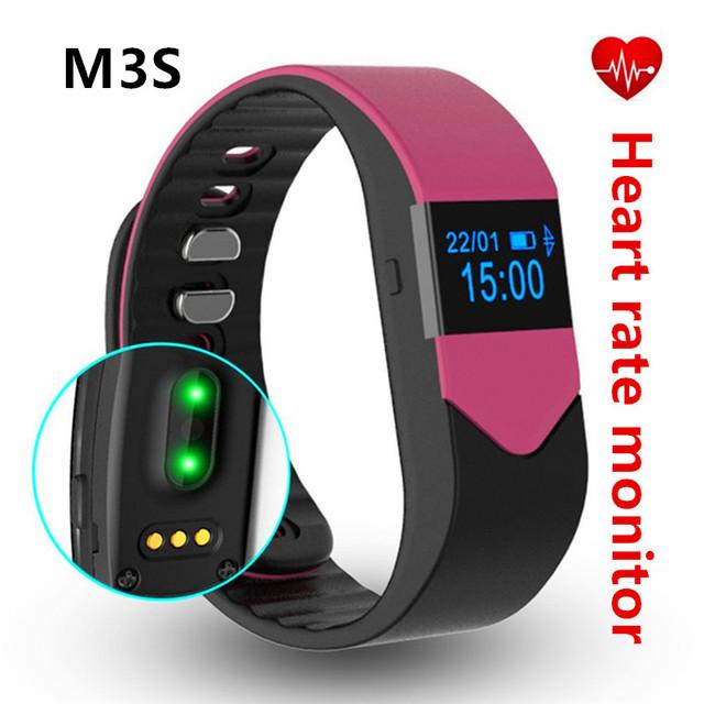 Deportes del Vintage VM3S Inteligente Muñequera Heart Rate Monitor de Fitness Sueño Pulsera Smartband PedometerSupport IOS y Android Teléfono Inteligente