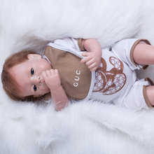 Simulation Doll Baby Reborn Boy 22 Inch 55 cm Silicone Newborn Babies Toy Realistic Dolls With Lovely Clothes Kids Best Playmate