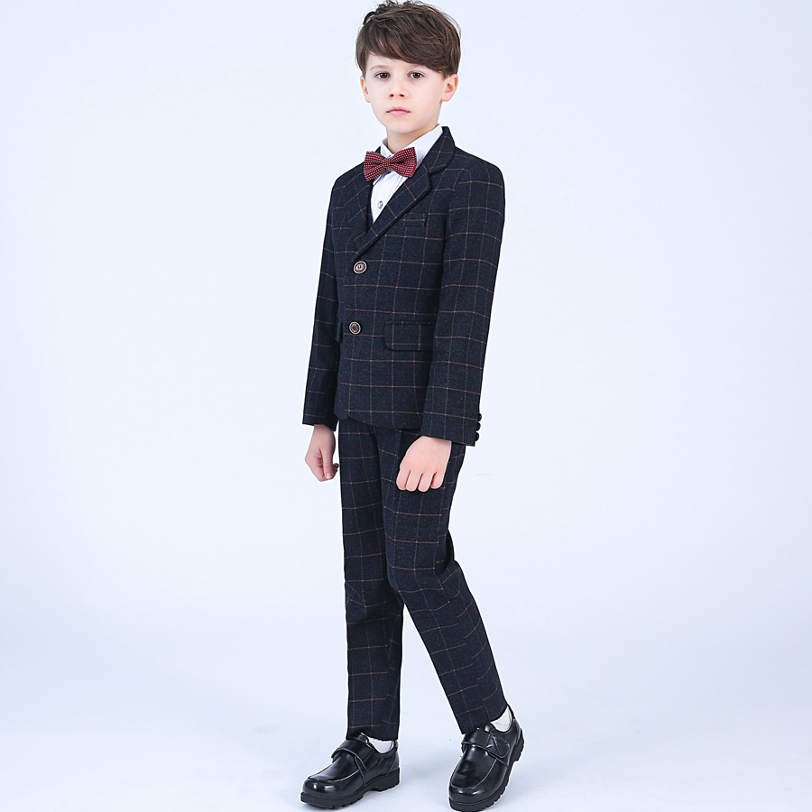 Formal Children 4pcs Dresses Suits Set Flower Boys Wedding Piano Performance Prince Costume Kids Blazer Shirt Pant Bowite Outfit