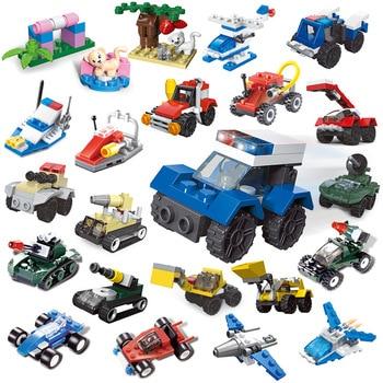 Mini Transportation tank plane Car Educational Assembled Models Building Blocks Compatible small Bricks toys for children