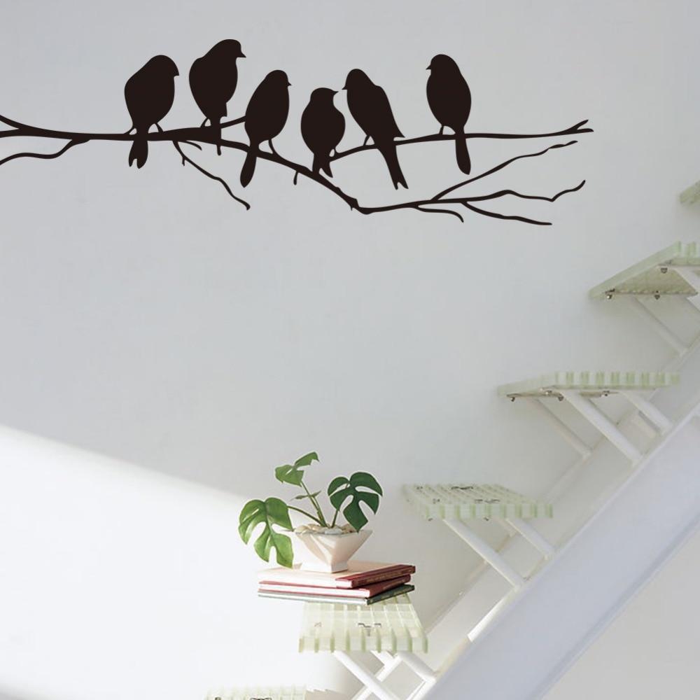 DCTOP Removable Black Birds Tree Branch DIY Vinyl Wall Stickers ...