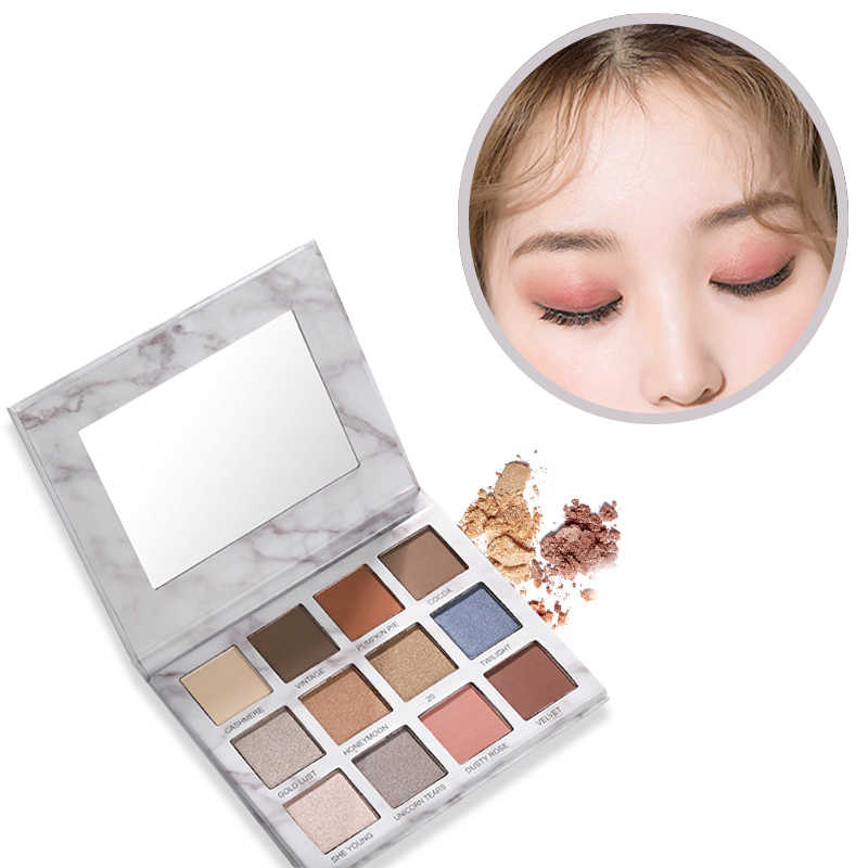 QiaoYan Professional  12 colors Makeup Palette Glitter Palette Eyeshadow Pallete Waterproof Glitter Eyeshadow Shimmer Cosmetics