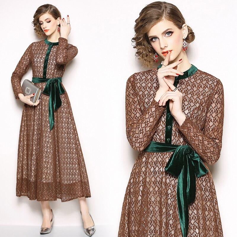 Printemps nouveau col montant dignité dames tempérament robe à manches longues femmes mode élégante robe de soirée
