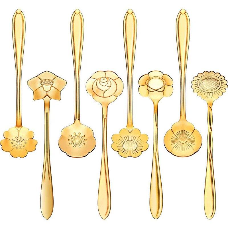 8 Pieces Stainless Steel Tableware Creative Flower Coffee Spoon Sugar Spoon Tea Spoon Stir Bar Spoon Stirring Spoon 4YANG(China)